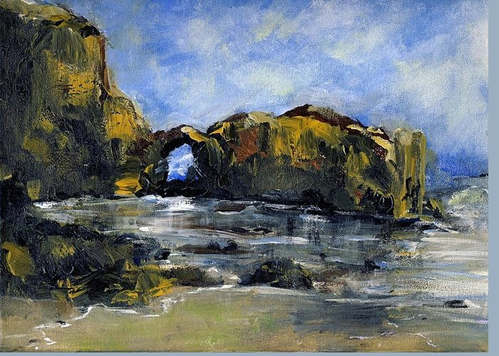 Beach Greeting Card featuring the painting Arch At Pearl Beach Over Cast by Randy Sprout