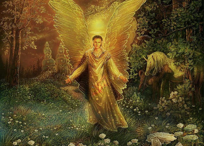 Angel Greeting Card featuring the painting Archangel Azrael by Steve Roberts