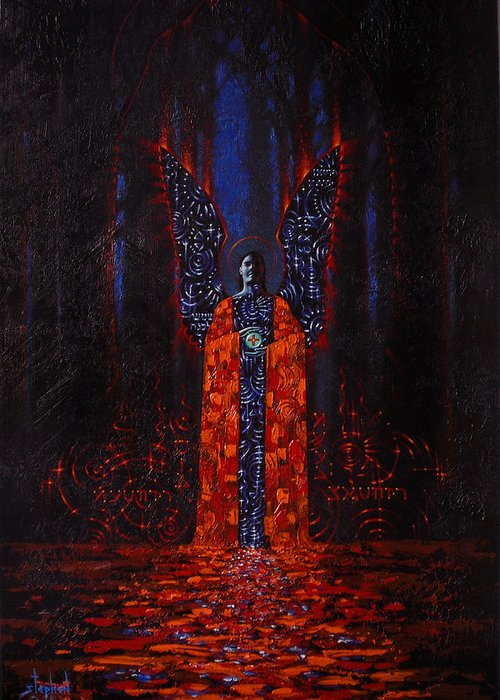 Mystical Greeting Card featuring the painting Archangel Evokes Through Nights Womb by Stephen Lucas