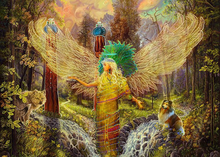 Angel Greeting Card featuring the painting Archangel Haniel by Steve Roberts