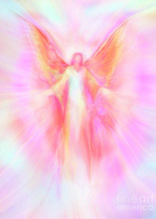Archangels Greeting Card featuring the painting Archangel Metatron Reaching Out In Compassion by Glenyss Bourne