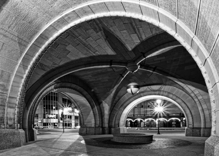 Cj Schmit Greeting Card featuring the photograph Arched In Black And White by CJ Schmit