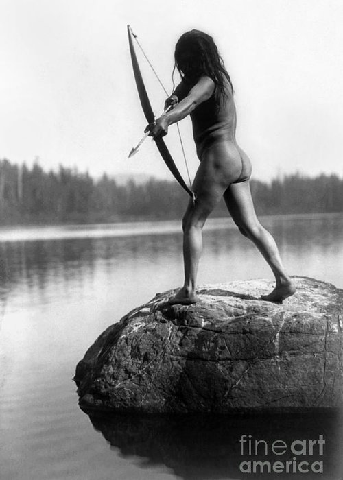 1910 Greeting Card featuring the photograph Archery: Nootka Indian by Granger