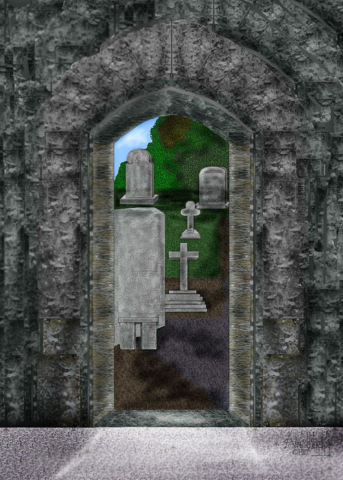 Digital Landscape Greeting Card featuring the painting Arches And Cross In Ireland by Anne Norskog