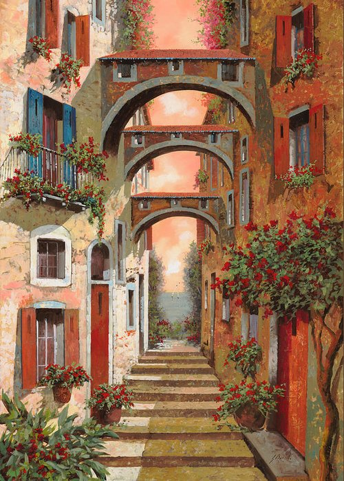 Arches Greeting Card featuring the painting Archetti In Rosso by Guido Borelli