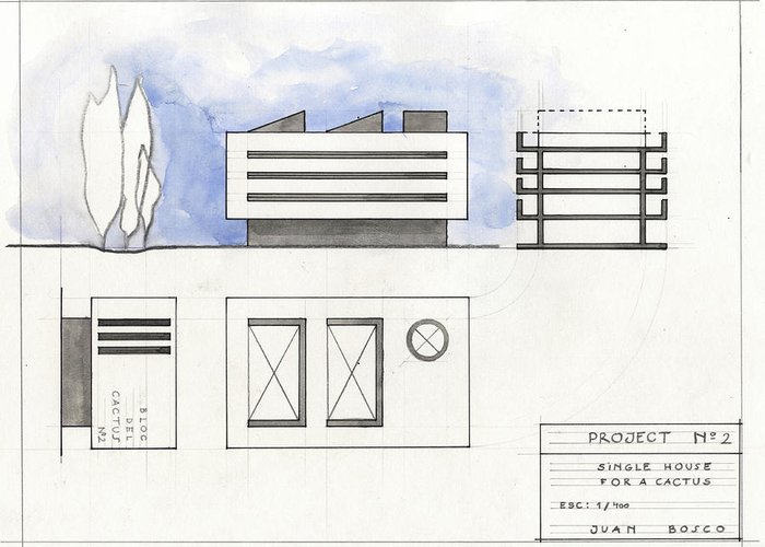 Architectural Drawing Greeting Card featuring the painting Architectural Drawing by Juan Bosco
