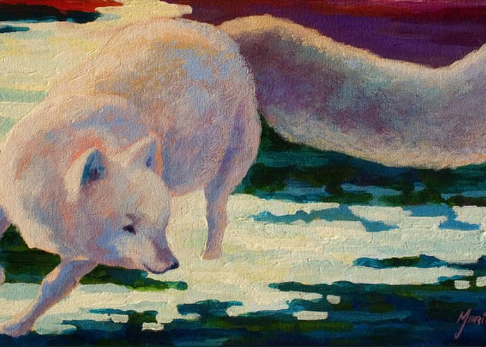 Arctic Greeting Card featuring the painting Arctic Fox by Marion Rose