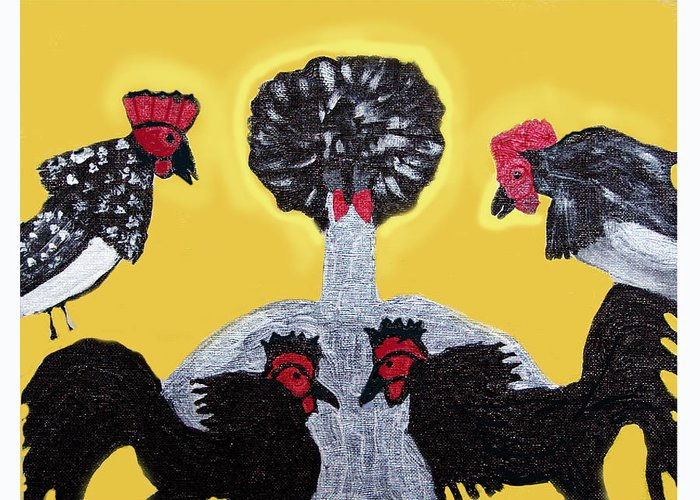 Chickens Greeting Card featuring the painting Are You Eye Ballin Me by Betty Roberts