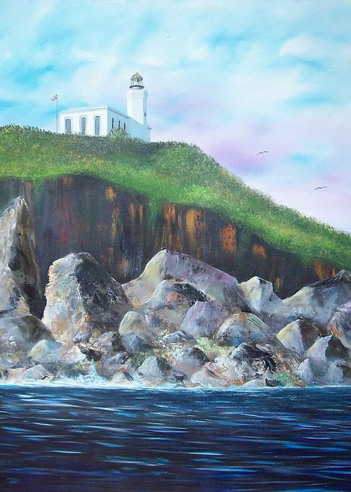Arecibo Lighthouse Greeting Card featuring the painting Arecibo Lighthouse by Tony Rodriguez