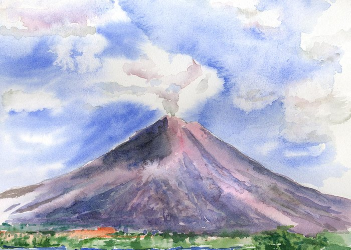 Volcano Greeting Card featuring the painting Arenal Volcano Costa Rica by Arline Wagner