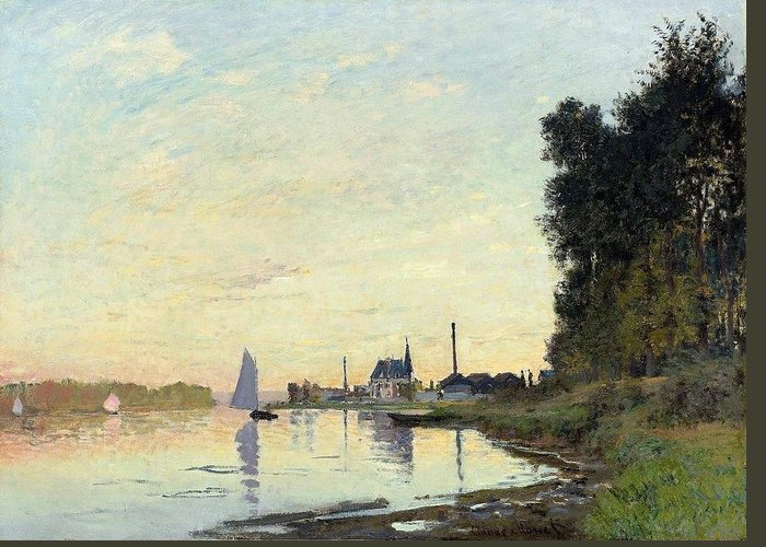 Claude Monet (french Greeting Card featuring the digital art Argenteuil, Late Afternoon by Mark Carlson