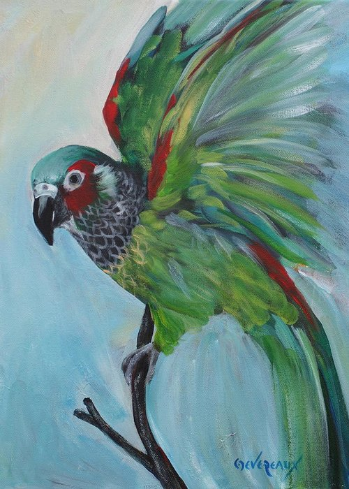 Bird Greeting Card featuring the painting Arika by Cher Devereaux