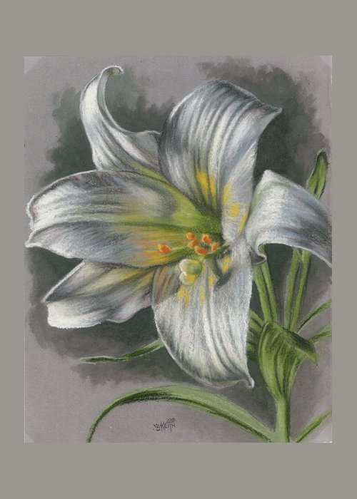 Easter Lily Greeting Card featuring the mixed media Arise by Barbara Keith