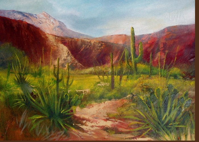 Landscape Greeting Card featuring the painting Arizona Beauty by Robert Carver