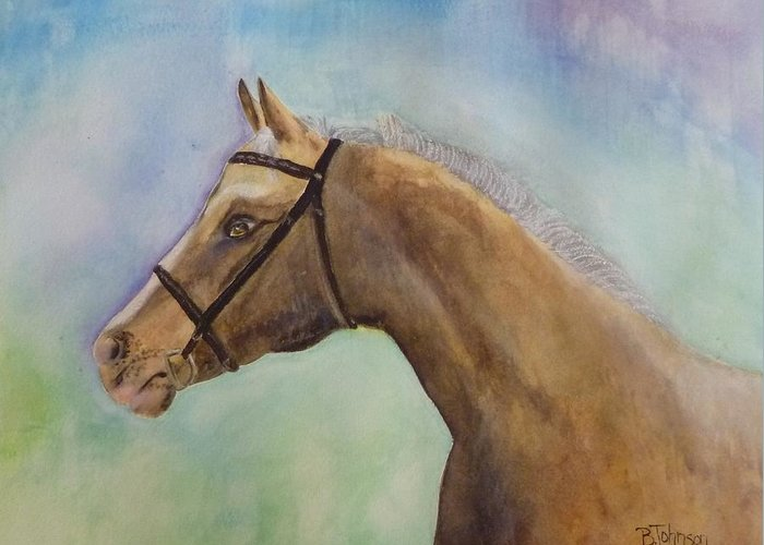 Horse Greeting Card featuring the painting Arizona by Beverly Johnson