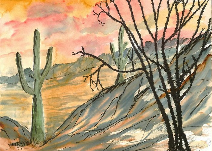 Drawing Greeting Card featuring the painting Arizona Evening Southwestern Landscape Painting Poster Print by Derek Mccrea