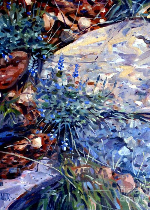 Blue Lupens Greeting Card featuring the painting Arizona Flora Study by Donald Maier