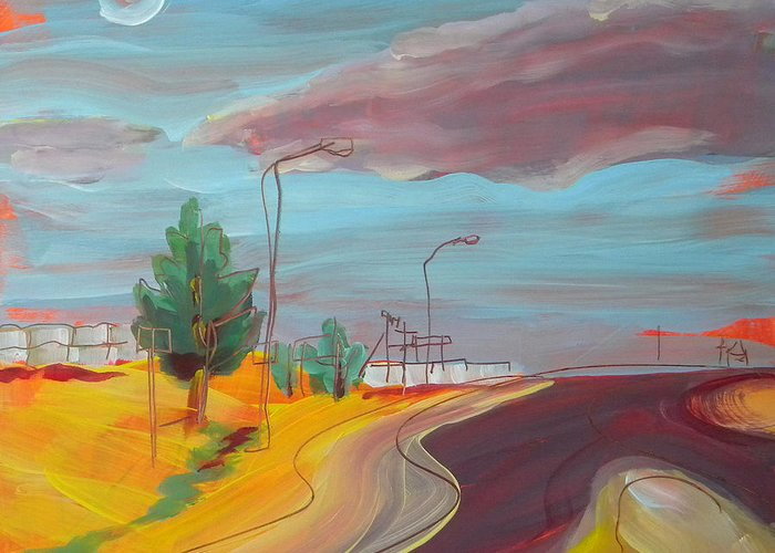 Arizona Greeting Card featuring the painting Arizona Highway 1 by Pam Van Londen