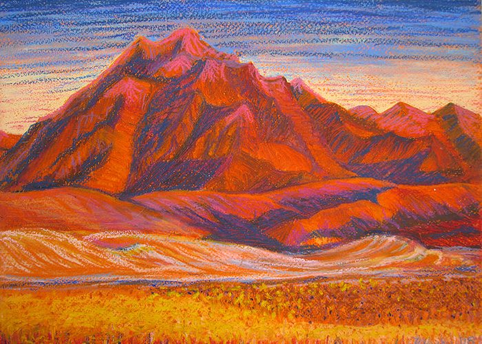 Arizona Greeting Card featuring the painting Arizona Mountains At Sunset by Art Nomad Sandra Hansen