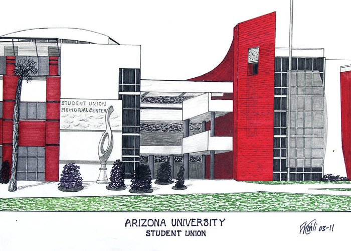 Student Union Mixed Media Greeting Cards