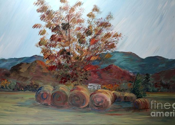Autumn Greeting Card featuring the painting Arkansas Autumn by Nadine Rippelmeyer