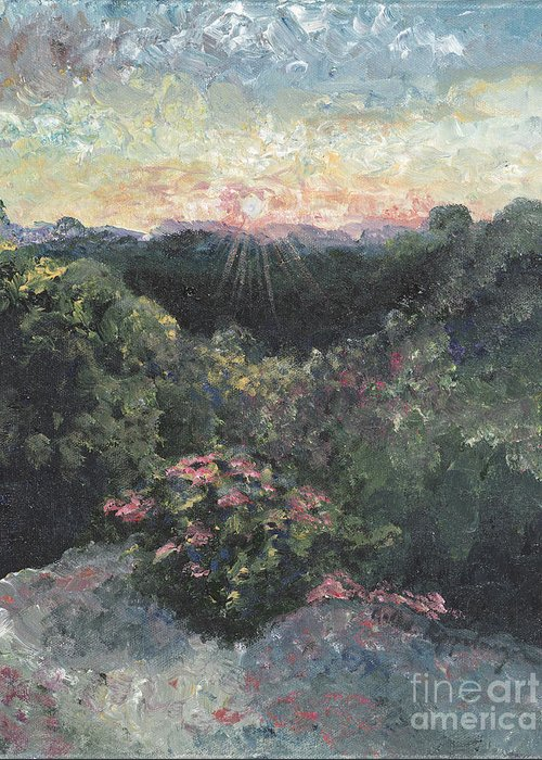 Landscape Greeting Card featuring the painting Arkansas Mountain Sunset by Nadine Rippelmeyer