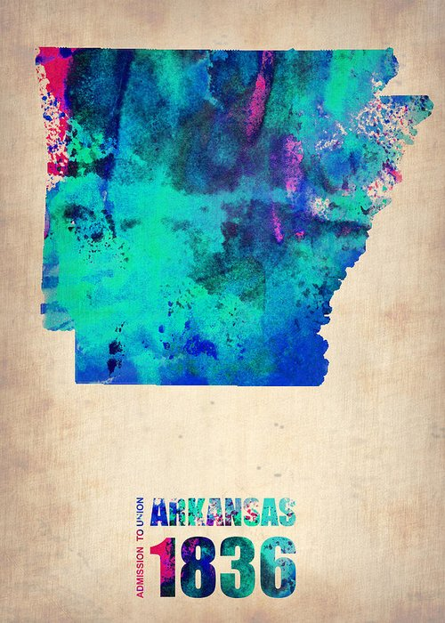 Arkansas Greeting Card featuring the digital art Arkansas Watercolor Map by Naxart Studio
