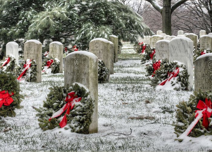 Arlington Cemetery Greeting Card featuring the photograph Arlington Christmas by JC Findley