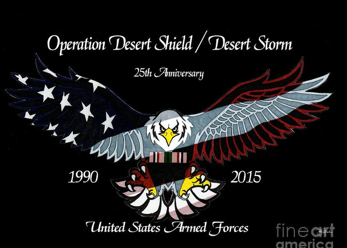 Armed Greeting Card featuring the drawing Armed Forces Desert Storm by Bill Richards