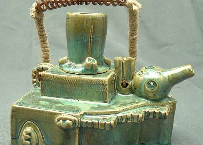 Clay Greeting Card featuring the sculpture Armoured Teapot by Donald Burroughs