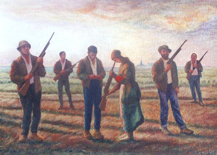 Landscape Greeting Card featuring the painting Arms Inspection II by James LeGros