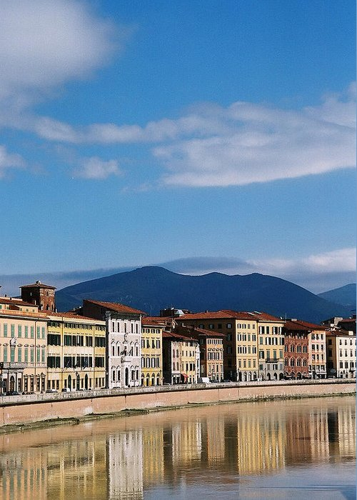 Pisa Greeting Card featuring the photograph Arno River Pisa Italy by Kathy Schumann