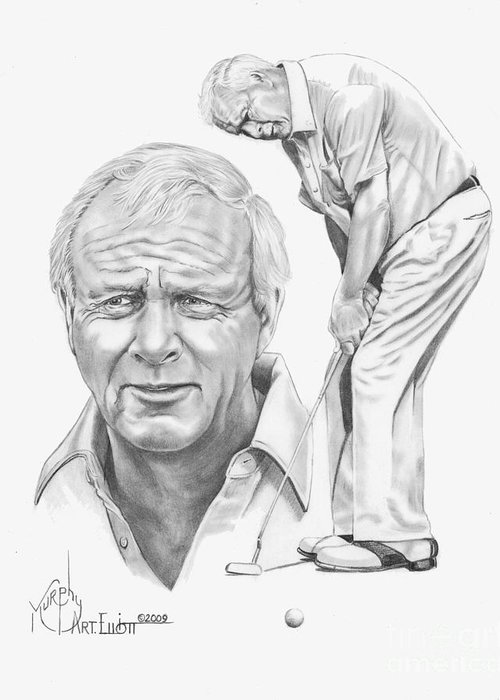 Arnold Palmer Greeting Card featuring the drawing Arnold Palmer by Murphy Elliott
