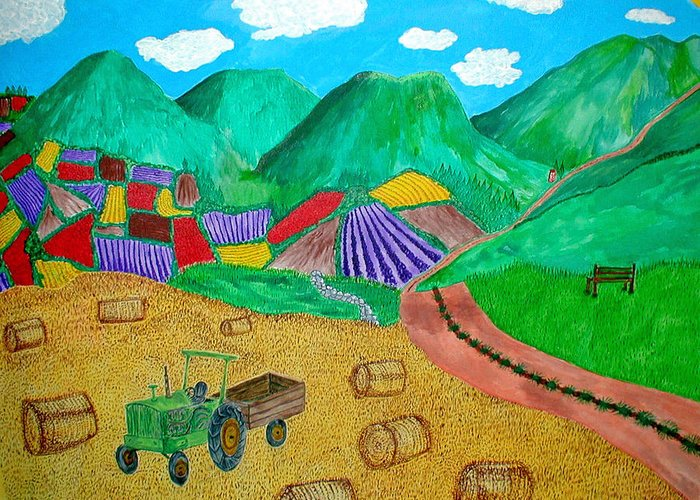 Tractor Greeting Card featuring the painting Aromatic Harvest by Sandy Wager
