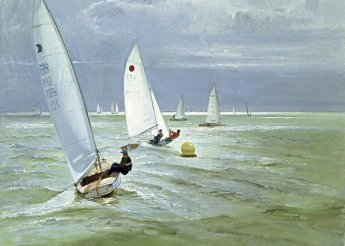 Buoy Greeting Card featuring the painting Around The Buoy by Timothy Easton