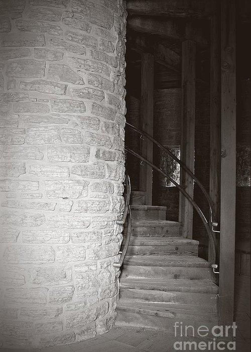 Staircase Greeting Card featuring the photograph Around The Corner by Giliane Mansfeldt