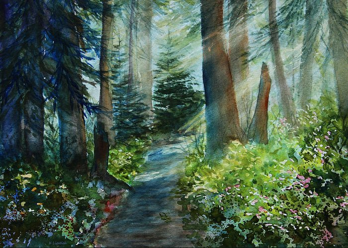 Landscape Greeting Card featuring the painting Around The Path by Kerri Ligatich