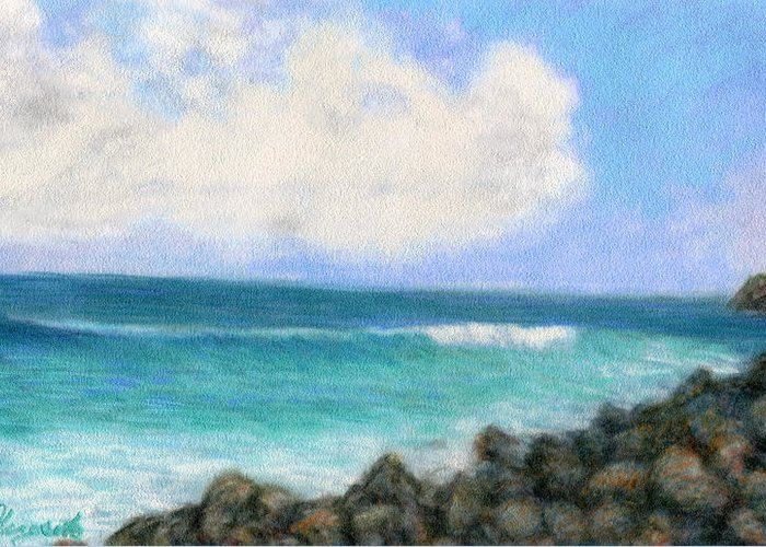 Rainbow Colors Pastel Greeting Card featuring the painting Around The Point by Kenneth Grzesik