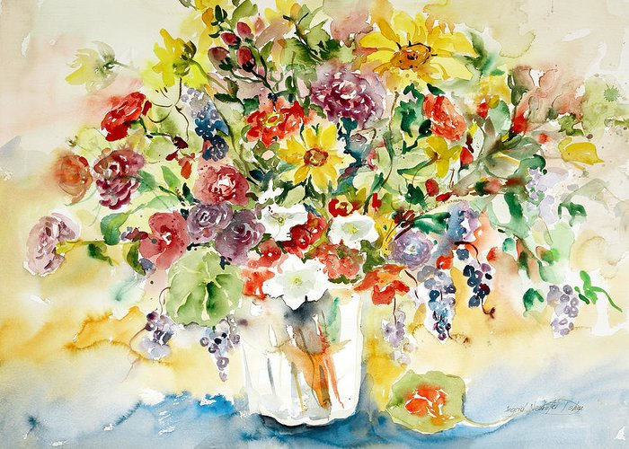 Watercolor Greeting Card featuring the painting Arrangement IIi by Ingrid Dohm