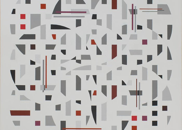 Abstract Geometric Painting Greeting Card featuring the painting Arrangement in Gray with Red by Marston A Jaquis