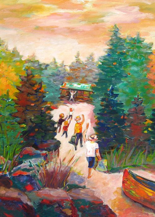 Visiting A Wilderness Cabin With Family On The Lake With A Canoe Is Just Plain Fun! Greeting Card featuring the painting Arrivals by Naomi Gerrard