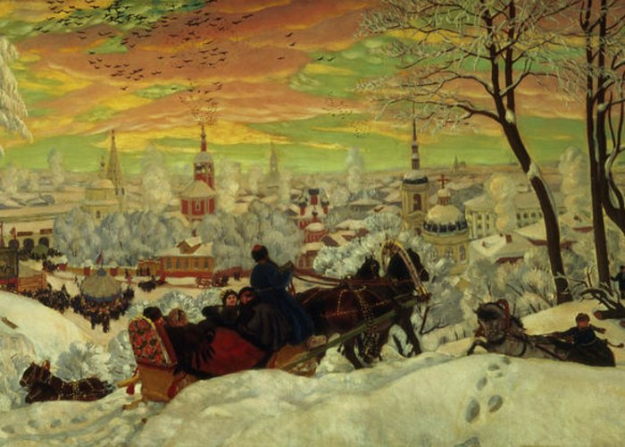 Arriving Greeting Card featuring the painting Arriving For The Holidays by Boris Mihajlovic Kustodiev