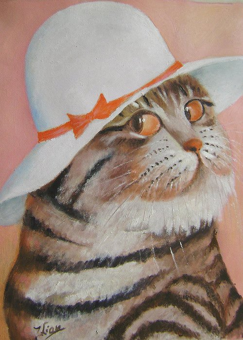 Cats Greeting Card featuring the painting Arrogant Cat by Lian Zhen