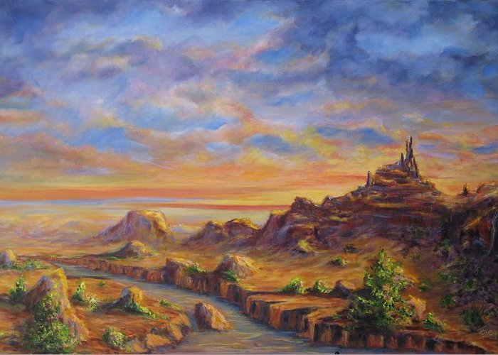 Desert Landscape Greeting Card featuring the painting Arroyo Sunset by Thomas Restifo