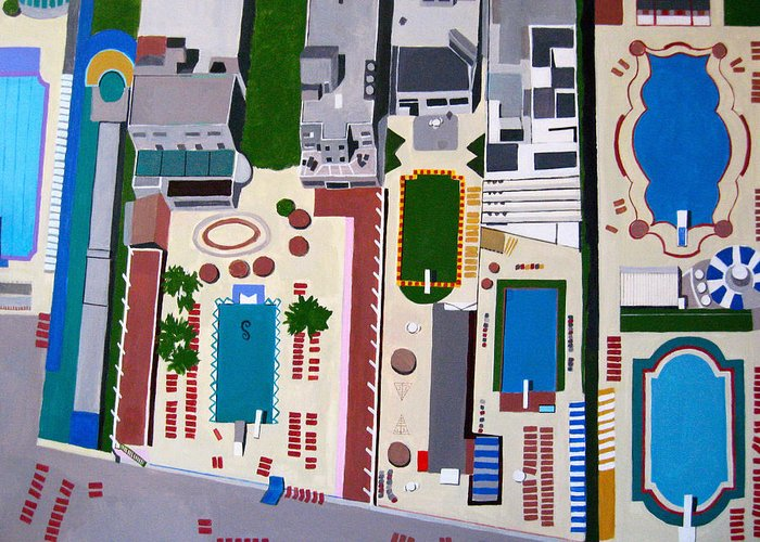 Resort Greeting Card featuring the painting Art Deco Pools by Toni Silber-Delerive