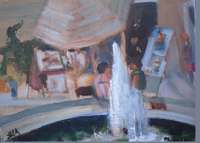 Carlsbad Village Fountain Greeting Card featuring the painting Art Faire by Bryan Alexander