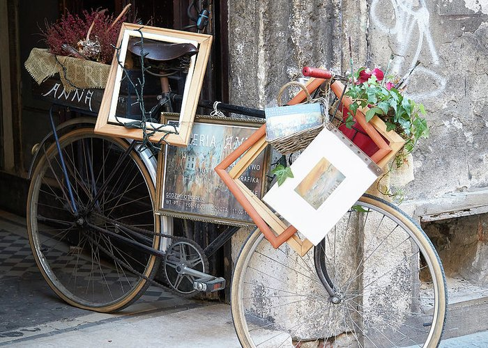 Bike Greeting Card featuring the photograph Art Gallery Bike by Iwona Dale