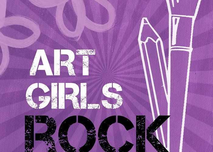 Art Greeting Card featuring the mixed media Art Girls Rock by Linda Woods
