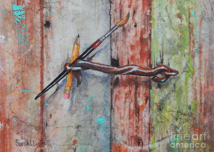 Paintbrush Greeting Card featuring the painting Art Hook by Sarah Luginbill