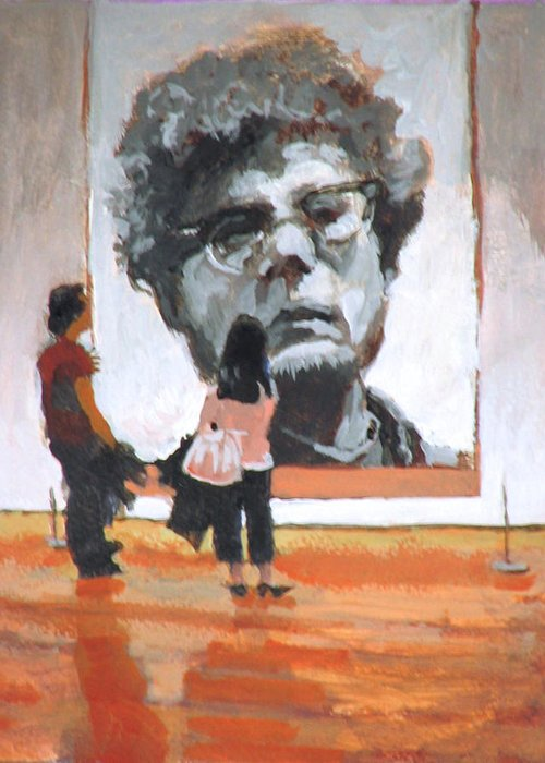 Close Greeting Card featuring the painting Art Lovers by Robert Bissett